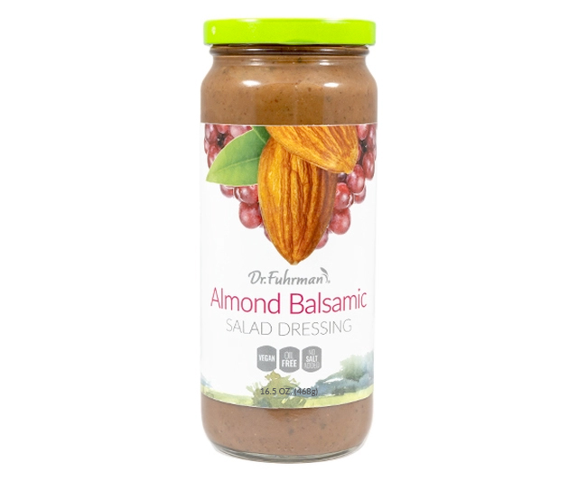 This salad dressing features a delicious blend of balsamic vinegar, almonds and sunflower seeds flavored with garlic, onions and herbs.