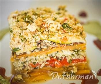 Sweet Potato Lasagna with Cauliflower Ricotta, Swiss Chard and Arugula Walnut Pesto