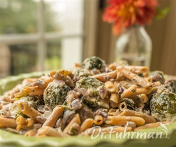 Bean Pasta with Brussels Sprouts and
