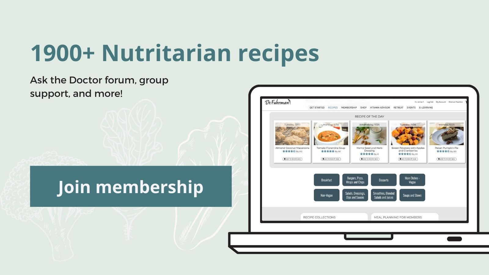 Membership gives you access to 1900+ recipes