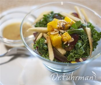 Kale and Fruit Salad with Almond Citrus Dressing