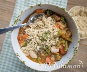 Springtime Minestrone Crock Pot Soup with Nutritarian Parmesan