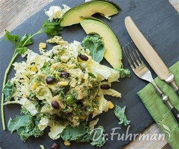 Napa Cabbage and Kale Slaw with Beans and Avocado
