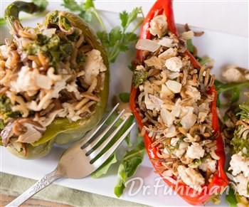 Stuffed Peppers with Mushrooms, Greens and Ground Turkey