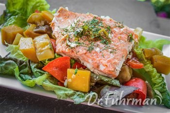 Roasted Vegetable Salad topped with Salmon
