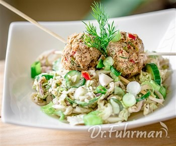 Salmon Balls with Napa Cabbage Slaw