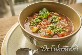 Provencal Vegetable Soup with Pumpkin Seed Pesto